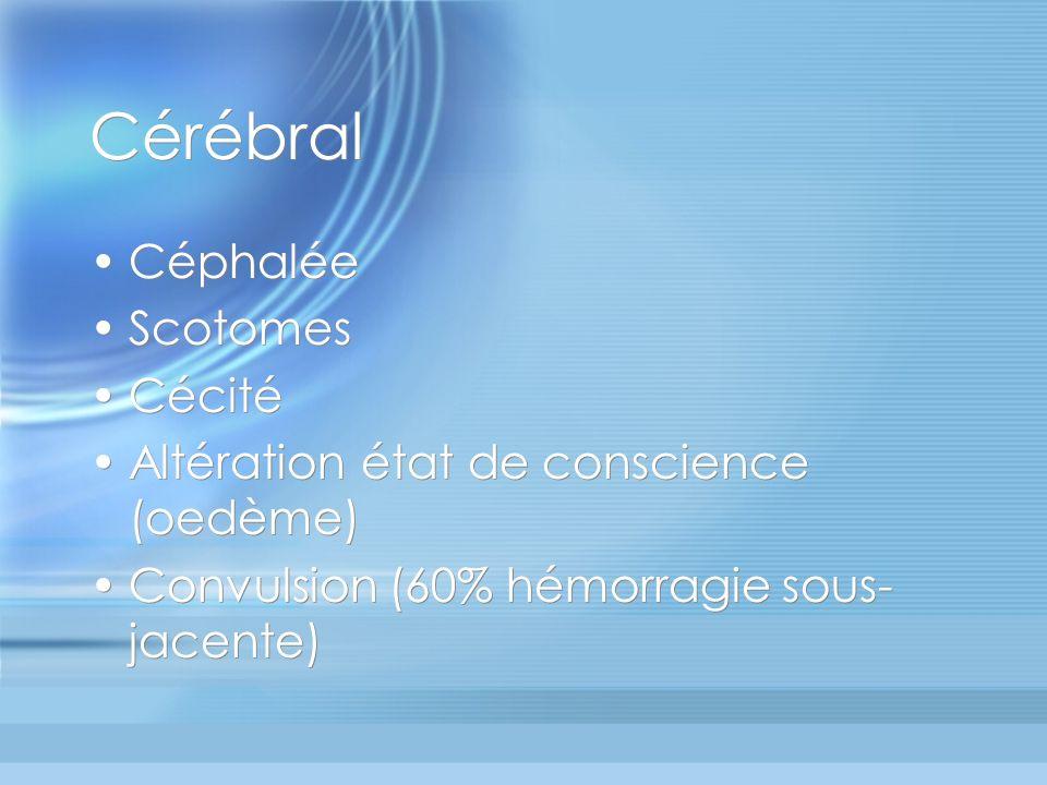 Cérébral Céphalée Scotomes Cécité Altération état de conscience (oedème) Convulsion (60% hémorragie sous- jacente) Céphalée Scotomes Cécité Altération