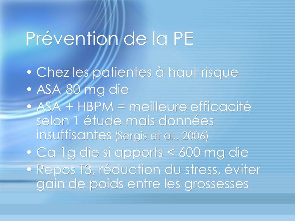 Prévention de la PE Chez les patientes à haut risque ASA 80 mg die ASA + HBPM = meilleure efficacité selon 1 étude mais données insuffisantes (Sergis