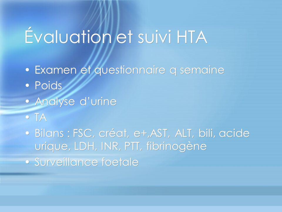 Évaluation et suivi HTA Examen et questionnaire q semaine Poids Analyse durine TA Bilans : FSC, créat, e+,AST, ALT, bili, acide urique, LDH, INR, PTT,