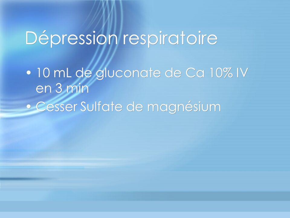 Dépression respiratoire 10 mL de gluconate de Ca 10% IV en 3 min Cesser Sulfate de magnésium 10 mL de gluconate de Ca 10% IV en 3 min Cesser Sulfate d