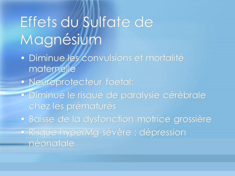 Effets du Sulfate de Magnésium Diminue les convulsions et mortalité maternelle Neuroprotecteur foetal: Diminue le risque de paralysie cérébrale chez l
