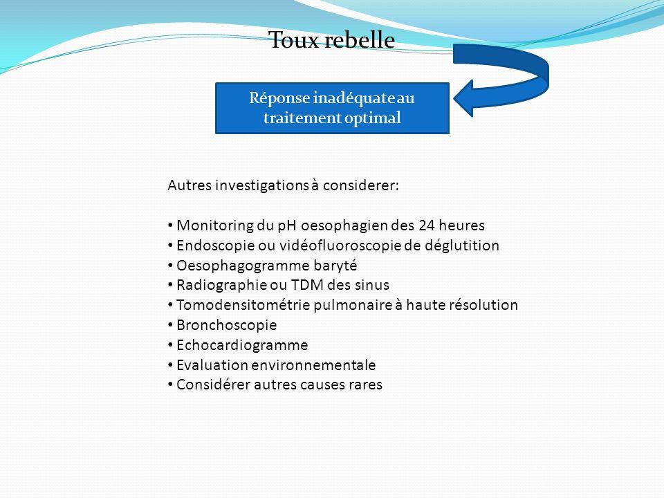 Toux rebelle Réponse inadéquate au traitement optimal Autres investigations à considerer: Monitoring du pH oesophagien des 24 heures Endoscopie ou vid