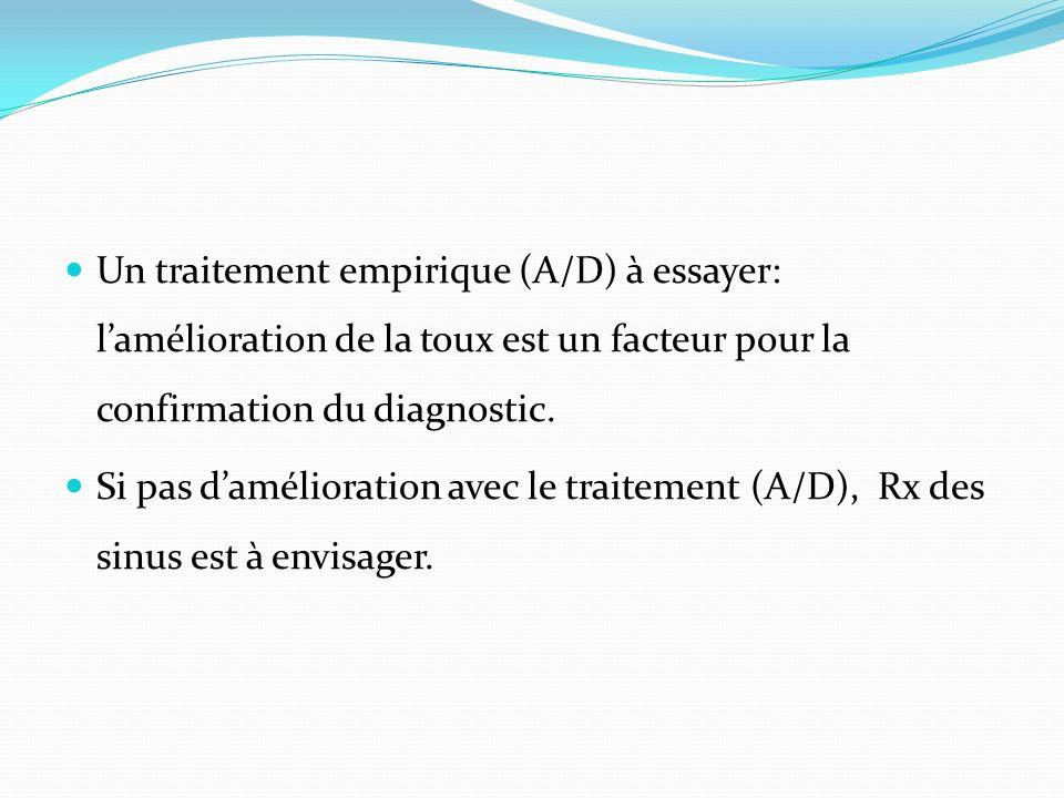 Un traitement empirique (A/D) à essayer: lamélioration de la toux est un facteur pour la confirmation du diagnostic. Si pas damélioration avec le trai