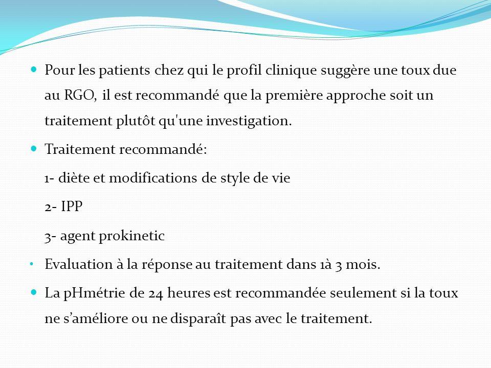 Pour les patients chez qui le profil clinique suggère une toux due au RGO, il est recommandé que la première approche soit un traitement plutôt qu'une