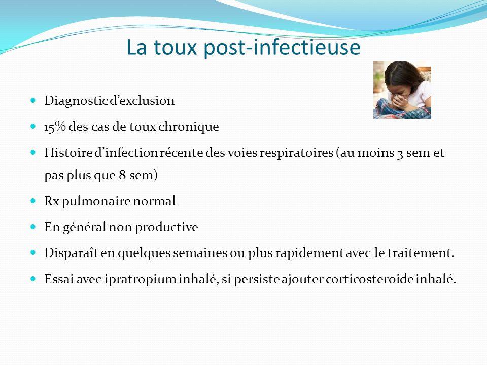 La toux post-infectieuse Diagnostic dexclusion 15% des cas de toux chronique Histoire dinfection récente des voies respiratoires (au moins 3 sem et pa