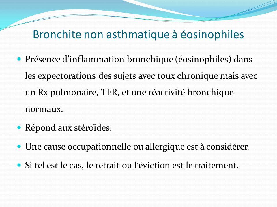 Bronchite non asthmatique à éosinophiles Présence dinflammation bronchique (éosinophiles) dans les expectorations des sujets avec toux chronique mais