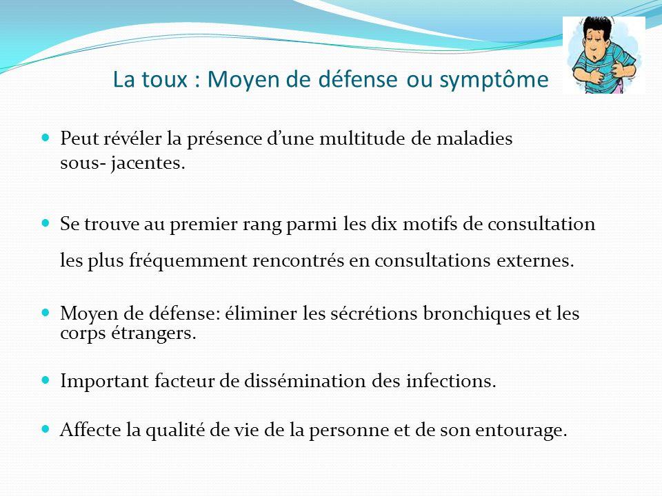 Définitions Toux aigue: depuis quelques heures/jours jusquà 3 semaines Toux subaigue: 3 à 8 semaines Toux chronique: toux quotidienne dune durée de plus 8 semaines