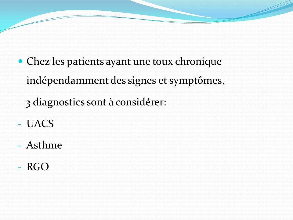 Chez les patients ayant une toux chronique indépendamment des signes et symptômes, 3 diagnostics sont à considérer: - UACS - Asthme - RGO