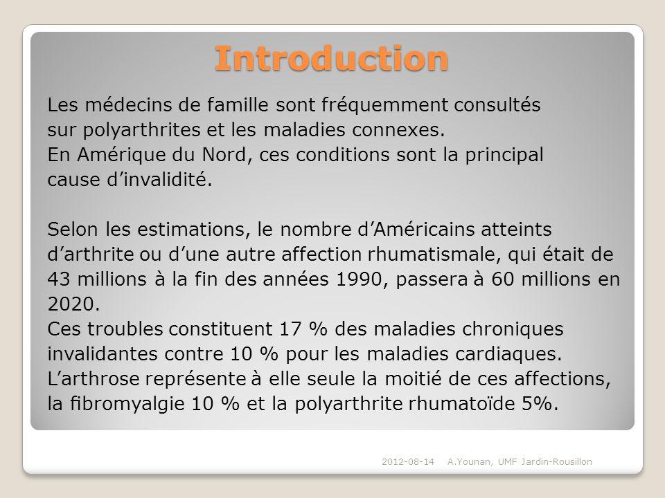 Introduction Les médecins de famille sont fréquemment consultés sur polyarthrites et les maladies connexes. En Amérique du Nord, ces conditions sont l