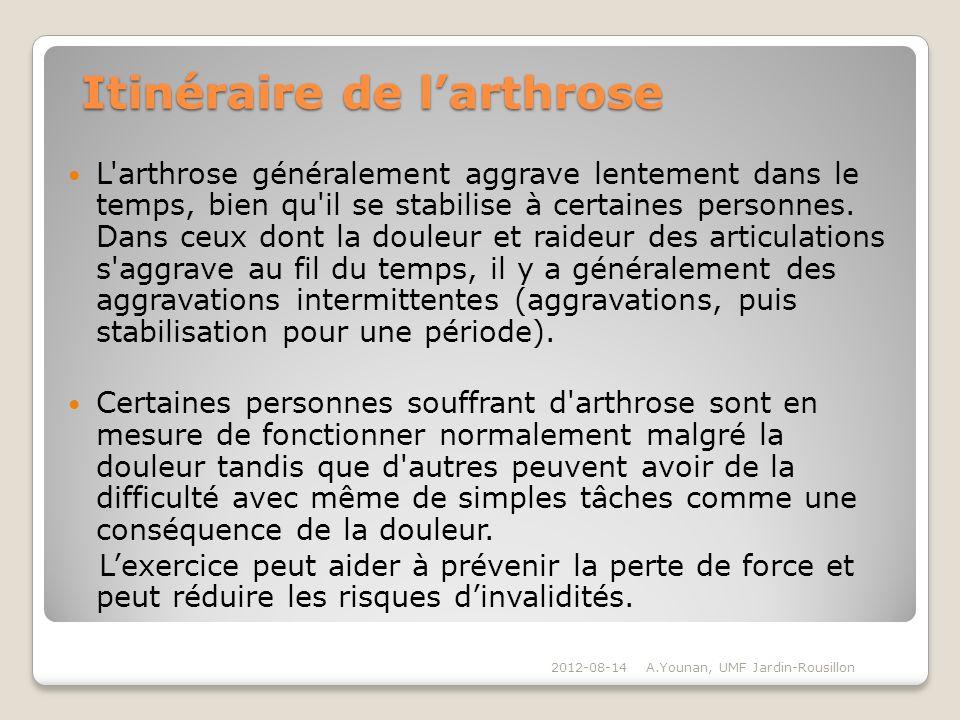 Itinéraire de larthrose L'arthrose généralement aggrave lentement dans le temps, bien qu'il se stabilise à certaines personnes. Dans ceux dont la doul