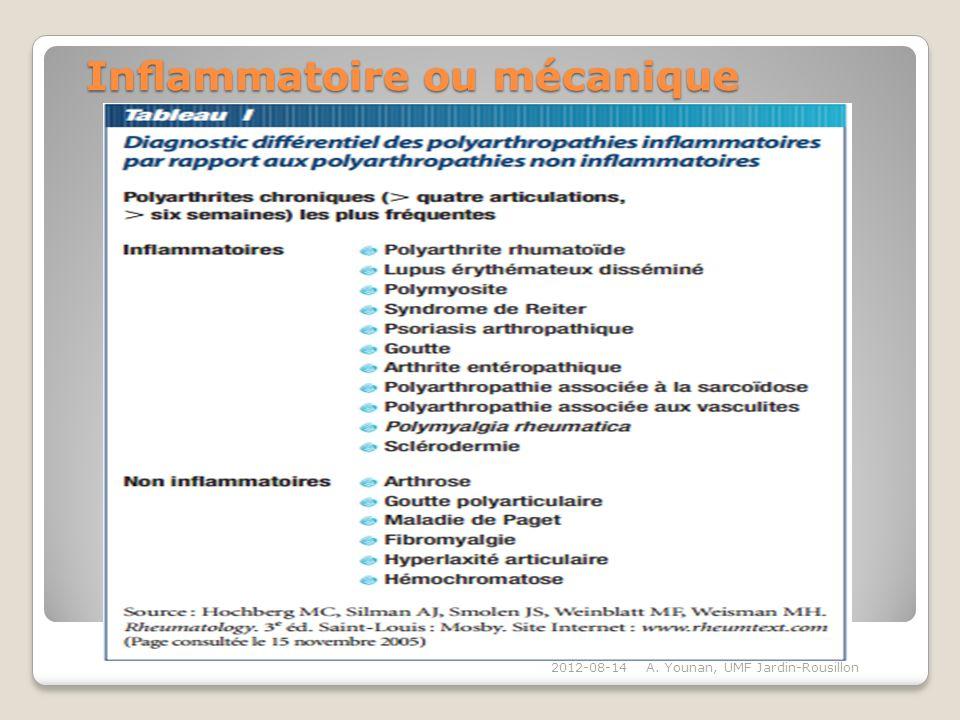 Inammatoire ou mécanique Inammatoire ou mécanique 2012-08-14A. Younan, UMF Jardin-Rousillon