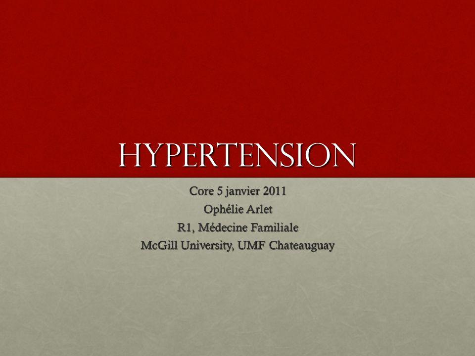 Hypertension secondaire Hypertension rénovasculaire, phéochromocytome, hyperaldostéronisme, cushingHypertension rénovasculaire, phéochromocytome, hyperaldostéronisme, cushing Hypertension rénovasculaire:Hypertension rénovasculaire: Suspecter si au moins 2 indices clinique:Suspecter si au moins 2 indices clinique: Apparition ou aggravation soudaine de lHypertension chez un patient âgé de plus de 55 ans ou de moins de 30 ansApparition ou aggravation soudaine de lHypertension chez un patient âgé de plus de 55 ans ou de moins de 30 ans Présence de souffles abdominauxPrésence de souffles abdominaux Hypertension rebelle à la polypharmacothérapie (3 agents ou plus)Hypertension rebelle à la polypharmacothérapie (3 agents ou plus) Élévation du taux de créat >30% associé à un IECA ou ARAÉlévation du taux de créat >30% associé à un IECA ou ARA Autre MVASAutre MVAS OAP récidivant associé à des hausses subites de valeurs tensionnellesOAP récidivant associé à des hausses subites de valeurs tensionnelles Investigation: doppler artère rénale, angio IRM ou angio scan, scinti au captopril si DFG NInvestigation: doppler artère rénale, angio IRM ou angio scan, scinti au captopril si DFG N