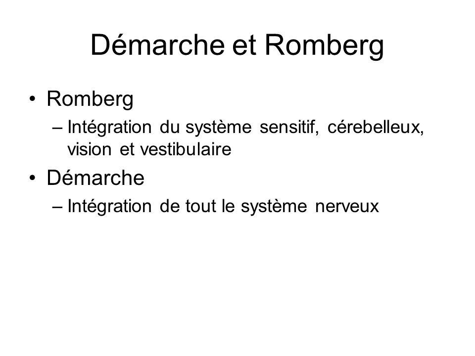 Démarche et Romberg Romberg –Intégration du système sensitif, cérebelleux, vision et vestibulaire Démarche –Intégration de tout le système nerveux