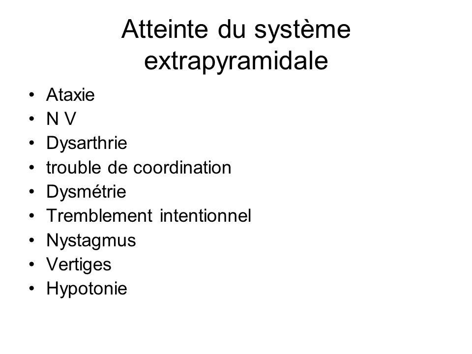 Atteinte du système extrapyramidale Ataxie N V Dysarthrie trouble de coordination Dysmétrie Tremblement intentionnel Nystagmus Vertiges Hypotonie