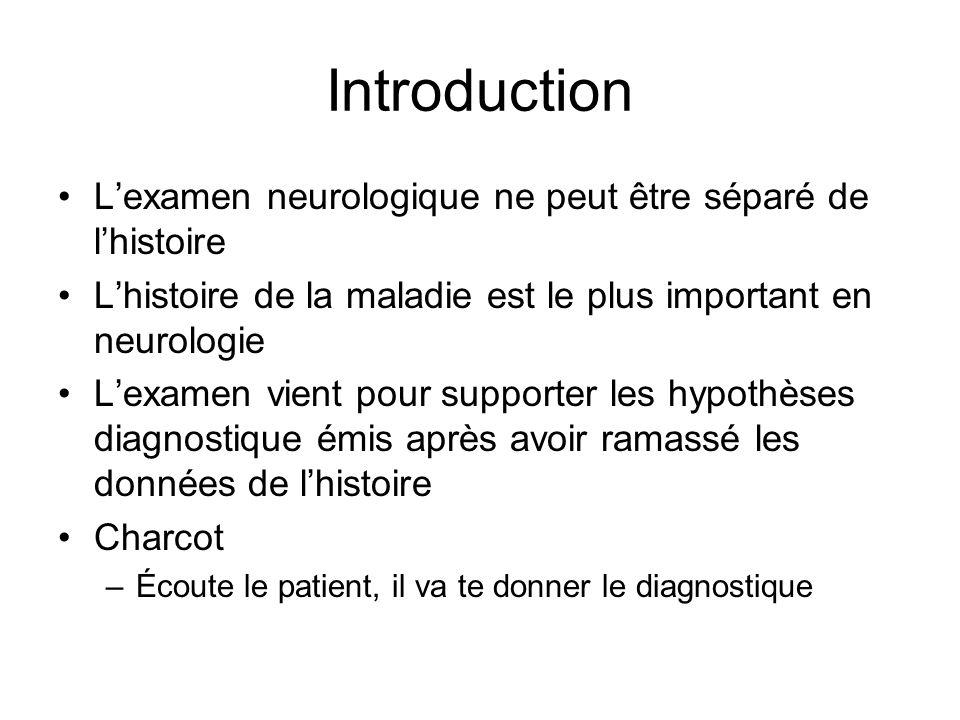 Introduction Lexamen neurologique ne peut être séparé de lhistoire Lhistoire de la maladie est le plus important en neurologie Lexamen vient pour supporter les hypothèses diagnostique émis après avoir ramassé les données de lhistoire Charcot –Écoute le patient, il va te donner le diagnostique