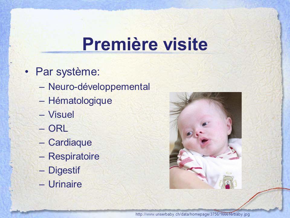 Première visite Par système: –Neuro-développemental –Hématologique –Visuel –ORL –Cardiaque –Respiratoire –Digestif –Urinaire http://www.unserbaby.ch/d