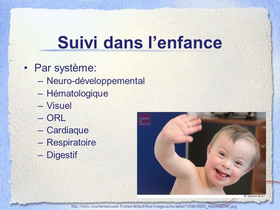 Suivi dans lenfance Par système: –Neuro-développemental –Hématologique –Visuel –ORL –Cardiaque –Respiratoire –Digestif http://www.courrierdelouest.fr/
