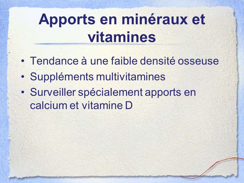 Apports en minéraux et vitamines Tendance à une faible densité osseuse Suppléments multivitamines Surveiller spécialement apports en calcium et vitami