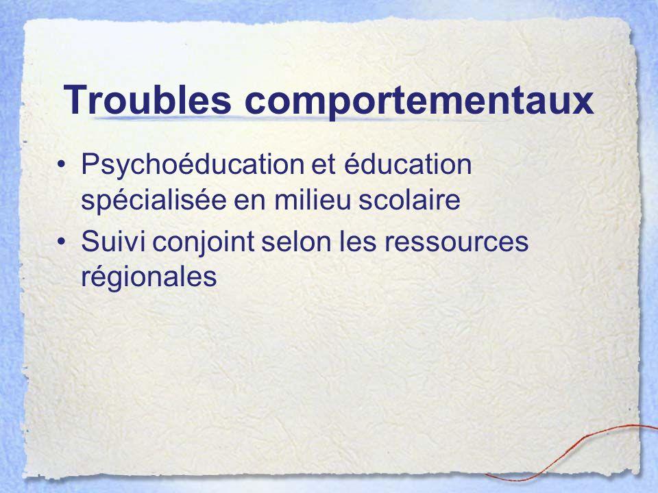 Troubles comportementaux Psychoéducation et éducation spécialisée en milieu scolaire Suivi conjoint selon les ressources régionales
