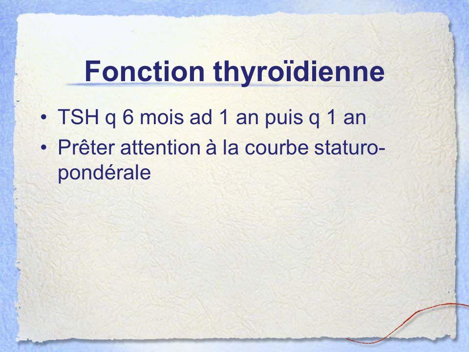 Fonction thyroïdienne TSH q 6 mois ad 1 an puis q 1 an Prêter attention à la courbe staturo- pondérale