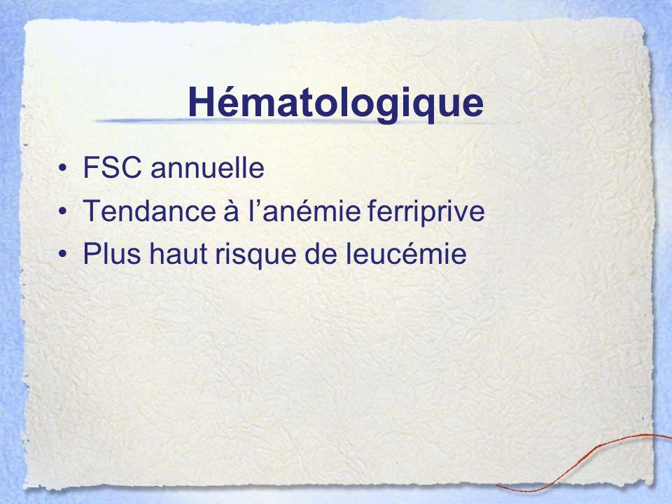 Hématologique FSC annuelle Tendance à lanémie ferriprive Plus haut risque de leucémie