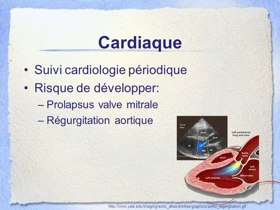 Cardiaque Suivi cardiologie périodique Risque de développer: –Prolapsus valve mitrale –Régurgitation aortique http://www.yale.edu/imaging/echo_atlas/e