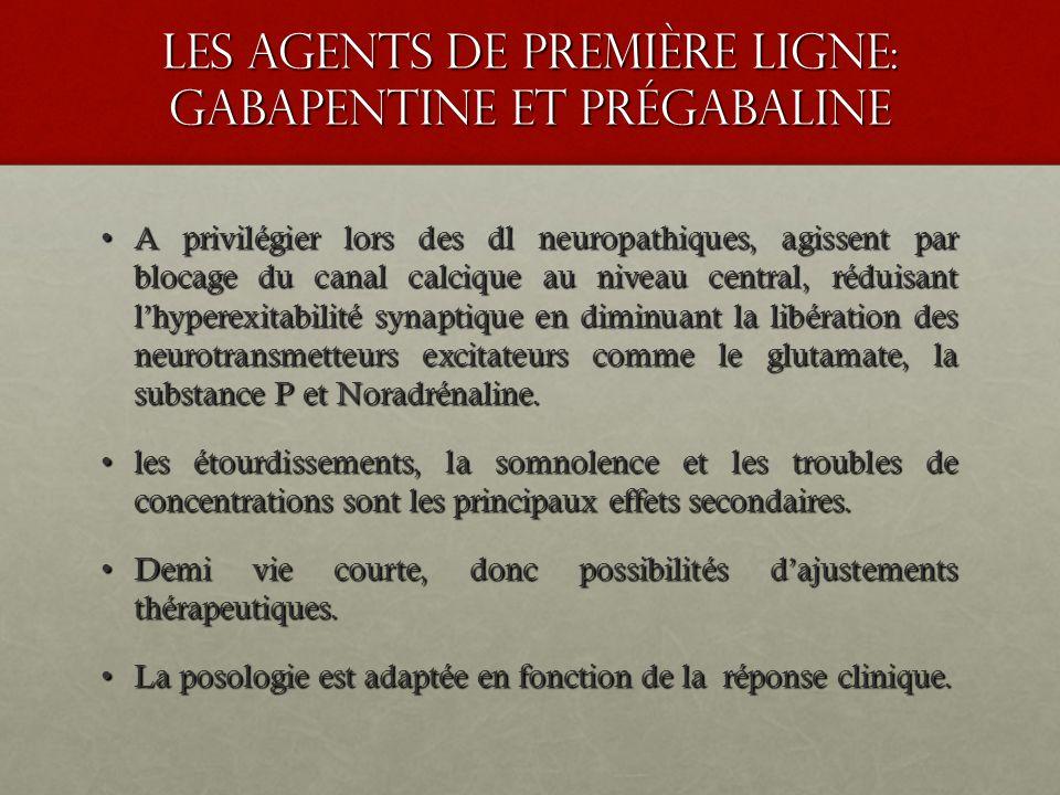 les agents de premiÈre ligne: GABAPENTINE ET PRÉGABALINE A privilégier lors des dl neuropathiques, agissent par blocage du canal calcique au niveau ce