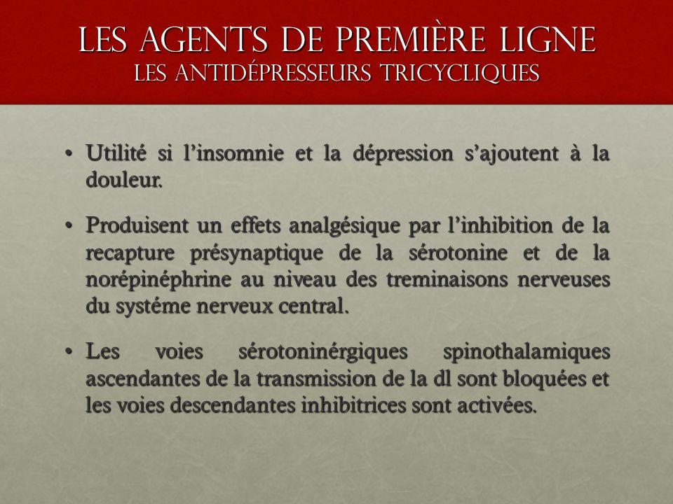 les agents de premiÈre ligne LES ANTIDÉPRESSEURS TRICYCLIQUES Utilité si linsomnie et la dépression sajoutent à la douleur.Utilité si linsomnie et la