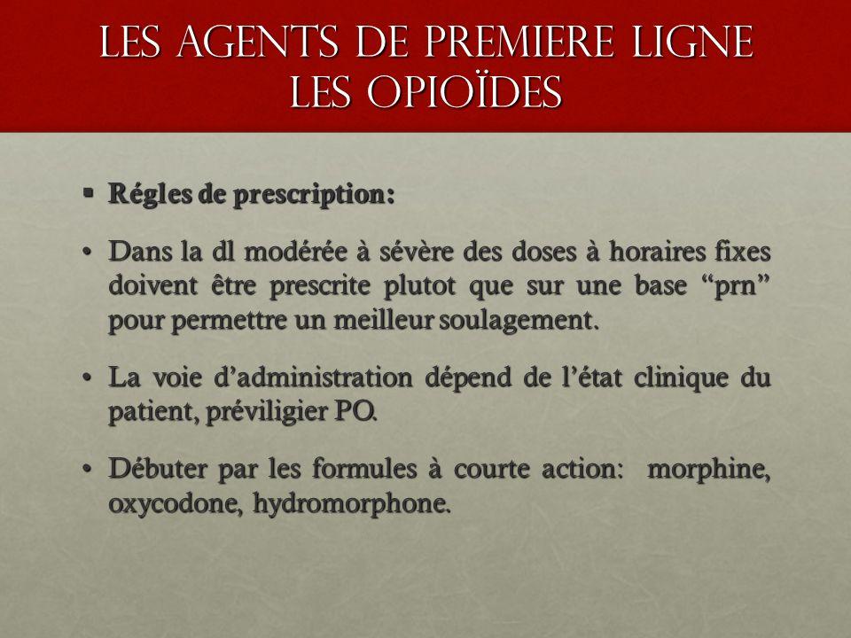 les agents de premiere ligne les opioïdes Régles de prescription: Régles de prescription: Dans la dl modérée à sévère des doses à horaires fixes doive