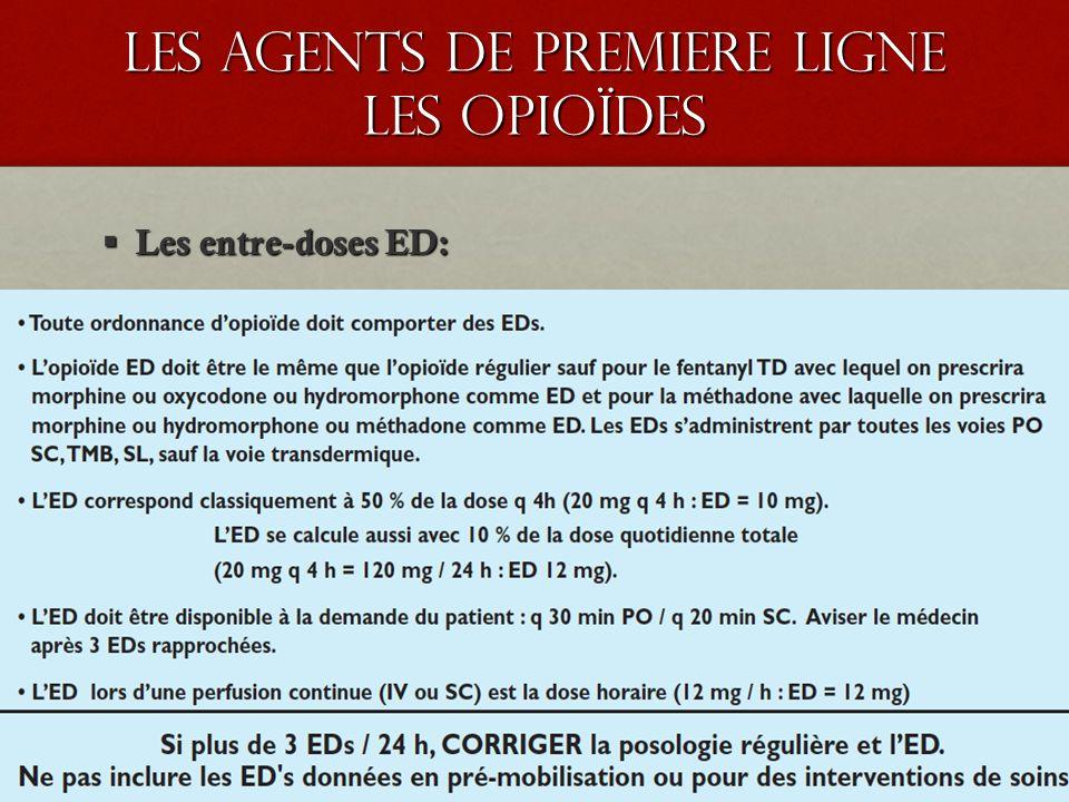 les agents de premiere ligne les opioïdes Les entre-doses ED: Les entre-doses ED: