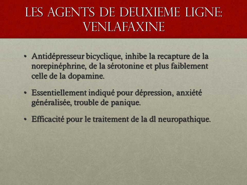les agents de deuxieme ligne: venlafaxine Antidépresseur bicyclique, inhibe la recapture de la norepinéphrine, de la sérotonine et plus faiblement cel