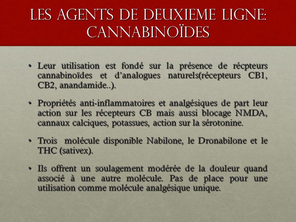 les agents de deuxieme ligne: cannabinoïdes Leur utilisation est fondé sur la présence de récpteurs cannabinoïdes et danalogues naturels(récepteurs CB