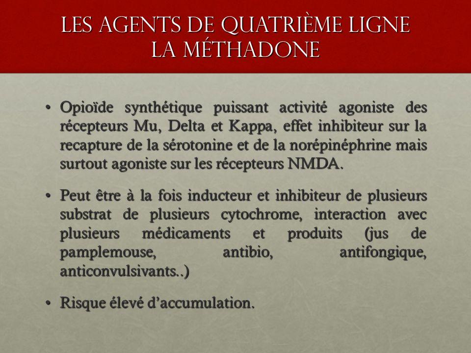 les agents de quatrième ligne la méthadone Opioïde synthétique puissant activité agoniste des récepteurs Mu, Delta et Kappa, effet inhibiteur sur la r