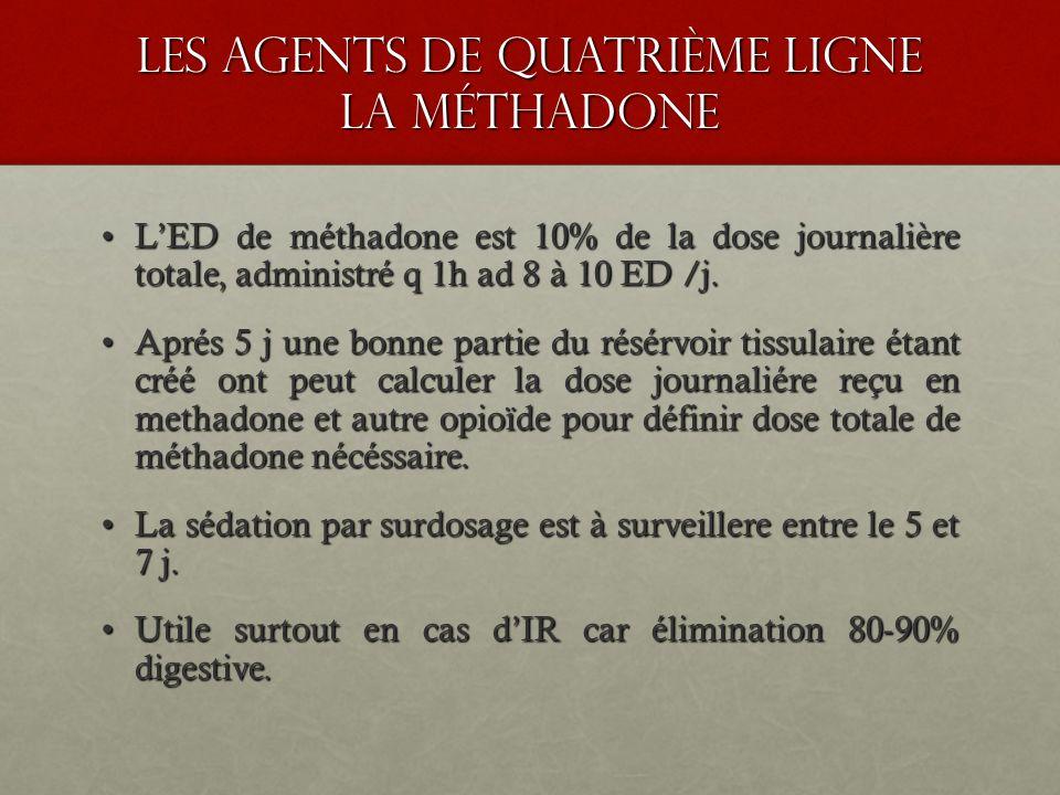 les agents de quatrième ligne la méthadone LED de méthadone est 10% de la dose journalière totale, administré q 1h ad 8 à 10 ED /j.LED de méthadone es