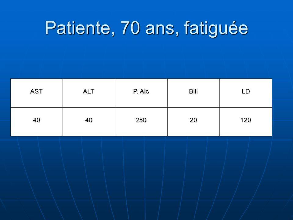 Patiente, 70 ans, fatiguée ASTALT P. Alc BiliLD 404025020120