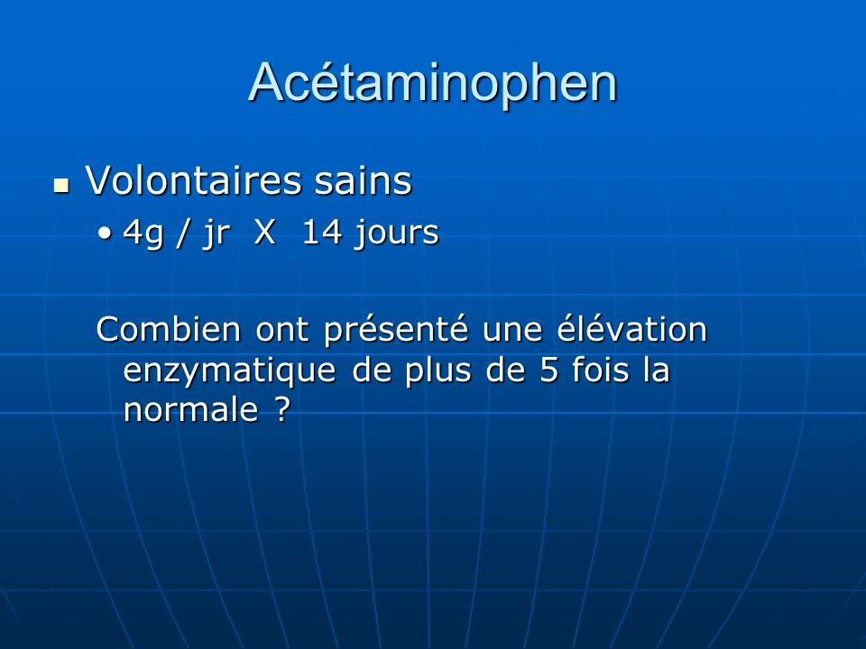 Acétaminophen Volontaires sains Volontaires sains 4g / jr X 14 jours4g / jr X 14 jours Combien ont présenté une élévation enzymatique de plus de 5 fois la normale ?