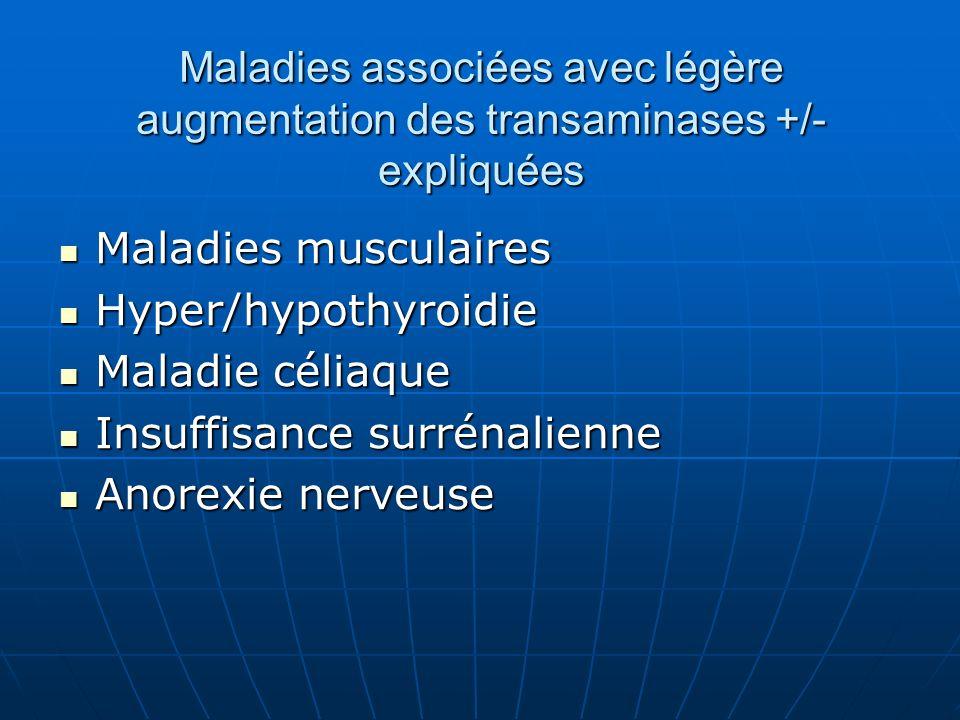 Maladies associées avec légère augmentation des transaminases +/- expliquées Maladies musculaires Maladies musculaires Hyper/hypothyroidie Hyper/hypothyroidie Maladie céliaque Maladie céliaque Insuffisance surrénalienne Insuffisance surrénalienne Anorexie nerveuse Anorexie nerveuse