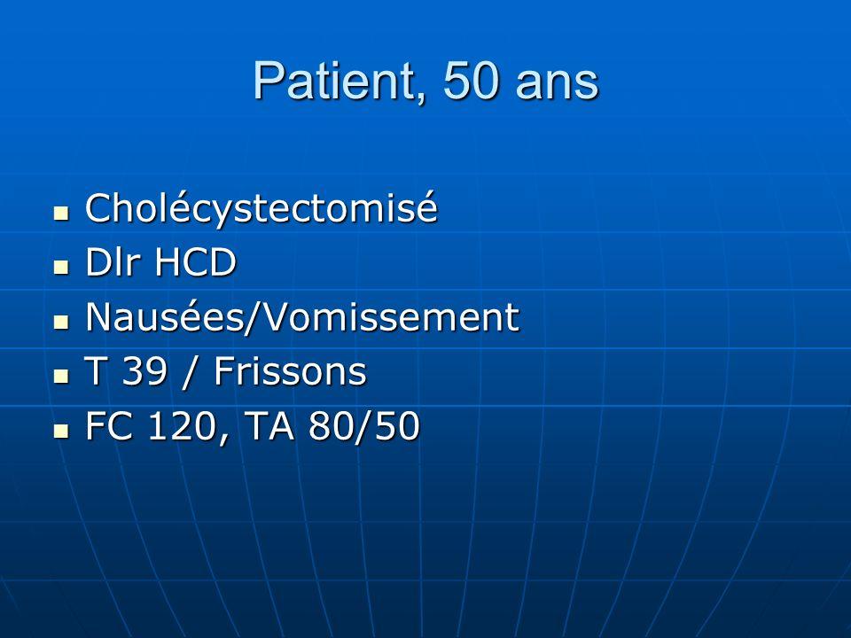 Patient, 50 ans Cholécystectomisé Cholécystectomisé Dlr HCD Dlr HCD Nausées/Vomissement Nausées/Vomissement T 39 / Frissons T 39 / Frissons FC 120, TA 80/50 FC 120, TA 80/50