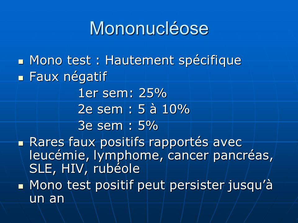 Mononucléose Mono test : Hautement spécifique Mono test : Hautement spécifique Faux négatif Faux négatif 1er sem: 25% 2e sem : 5 à 10% 3e sem : 5% Rares faux positifs rapportés avec leucémie, lymphome, cancer pancréas, SLE, HIV, rubéole Rares faux positifs rapportés avec leucémie, lymphome, cancer pancréas, SLE, HIV, rubéole Mono test positif peut persister jusquà un an Mono test positif peut persister jusquà un an
