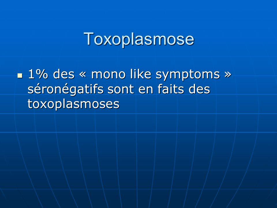 Toxoplasmose 1% des « mono like symptoms » séronégatifs sont en faits des toxoplasmoses 1% des « mono like symptoms » séronégatifs sont en faits des toxoplasmoses