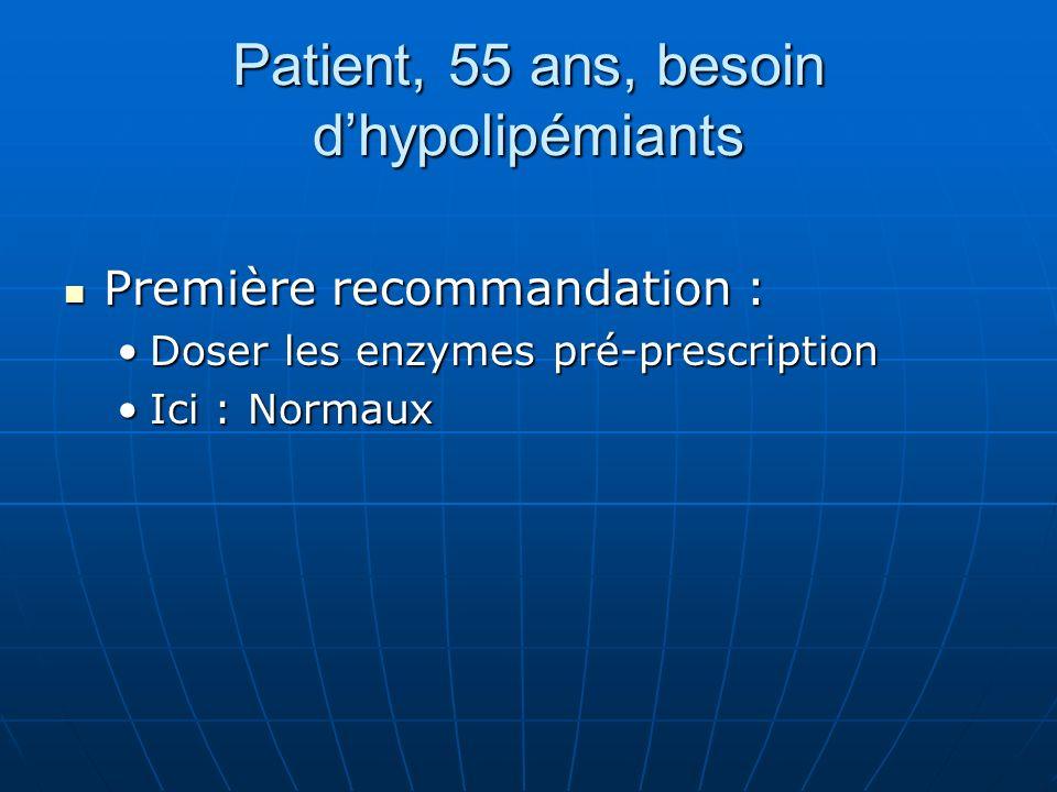 Patient, 55 ans, besoin dhypolipémiants Première recommandation : Première recommandation : Doser les enzymes pré-prescriptionDoser les enzymes pré-prescription Ici : NormauxIci : Normaux