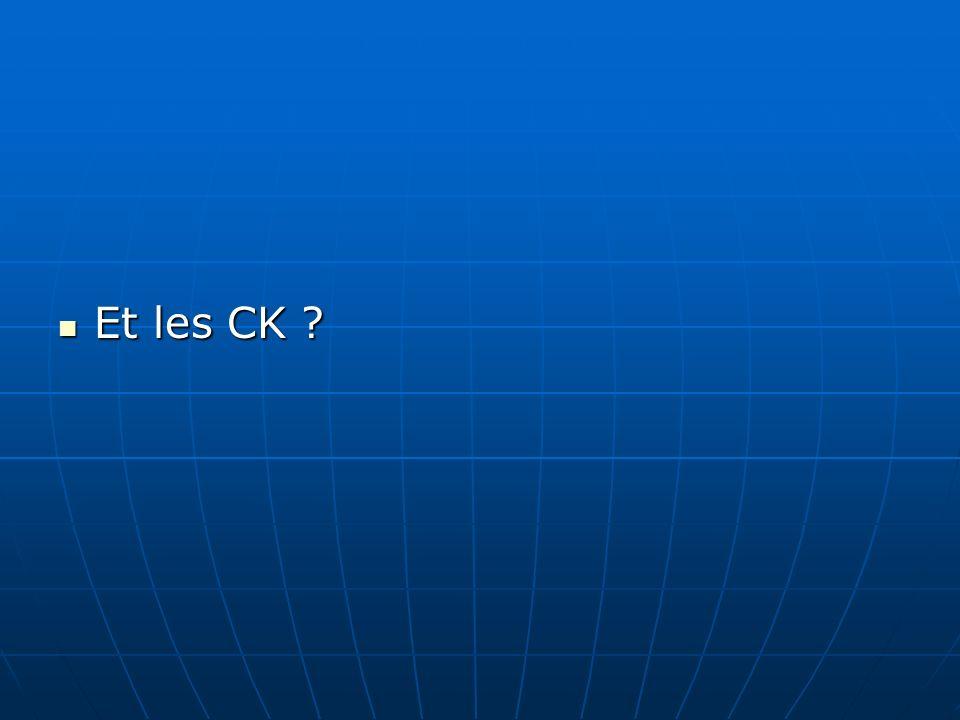 Et les CK ? Et les CK ?