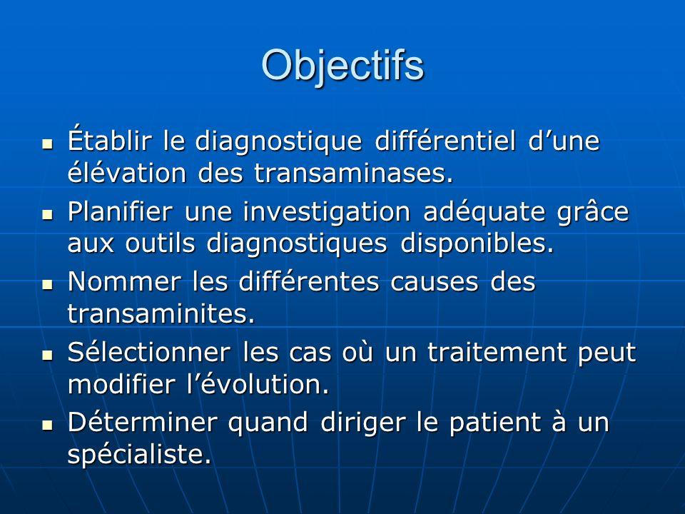 Objectifs Établir le diagnostique différentiel dune élévation des transaminases.