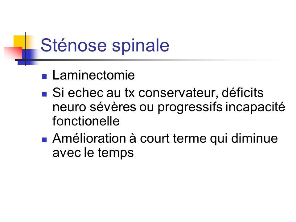 Sténose spinale Laminectomie Si echec au tx conservateur, déficits neuro sévères ou progressifs incapacité fonctionelle Amélioration à court terme qui diminue avec le temps