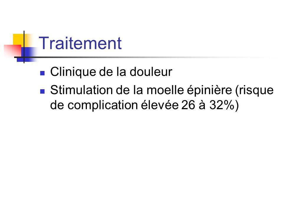 Traitement Clinique de la douleur Stimulation de la moelle épinière (risque de complication élevée 26 à 32%)