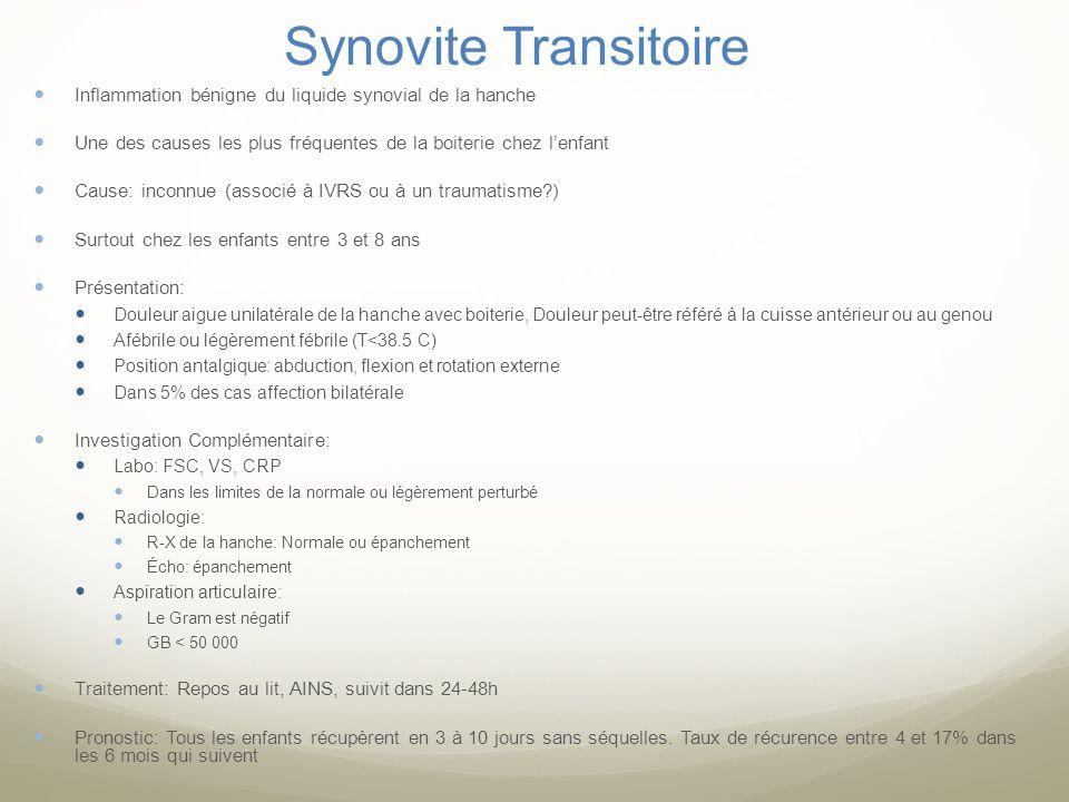 Synovite Transitoire Inflammation bénigne du liquide synovial de la hanche Une des causes les plus fréquentes de la boiterie chez lenfant Cause: incon