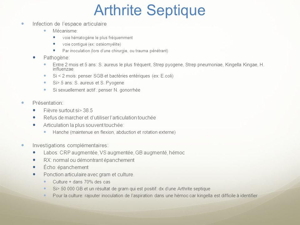 Arthrite Septique Infection de lespace articulaire Mécanisme: voie hématogène le plus fréquemment voie contiguë (ex: ostéomyélite) Par inoculation (lo