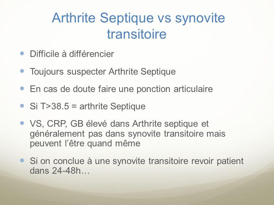 Arthrite Septique vs synovite transitoire Difficile à différencier Toujours suspecter Arthrite Septique En cas de doute faire une ponction articulaire