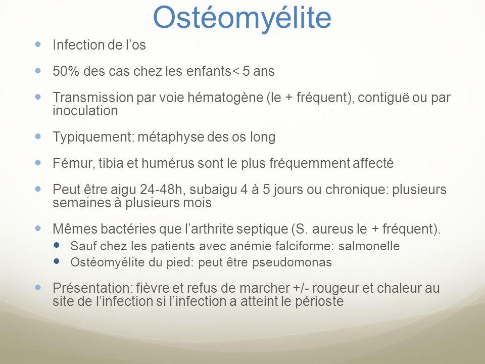 Ostéomyélite Infection de los 50% des cas chez les enfants< 5 ans Transmission par voie hématogène (le + fréquent), contiguë ou par inoculation Typiqu