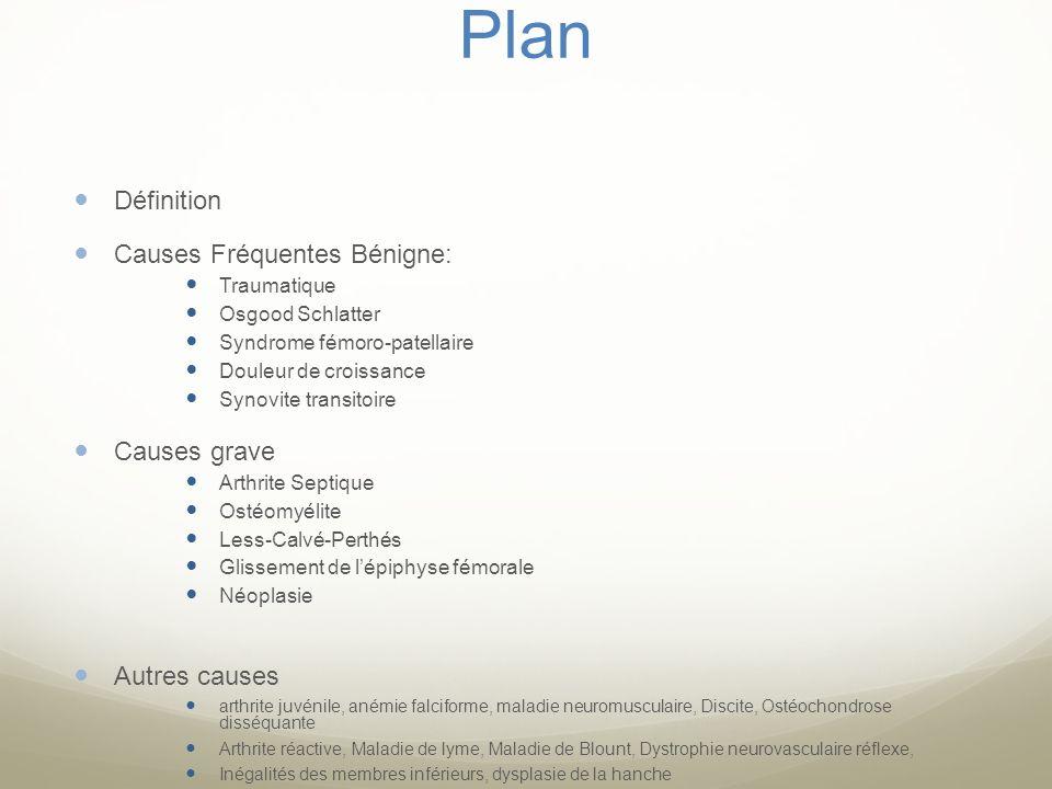 Plan Définition Causes Fréquentes Bénigne: Traumatique Osgood Schlatter Syndrome fémoro-patellaire Douleur de croissance Synovite transitoire Causes g